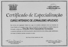 Intensive Course for Journalists – O Estado de S. Paulo newspaper - 1993